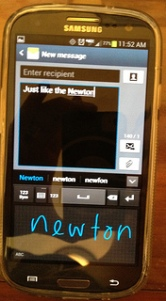 Samsung Galaxy S3 channels Newton handwriting