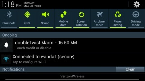 Android Settings from Pulldown