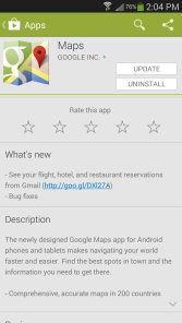 Google maps Android app description of what's new in the play store