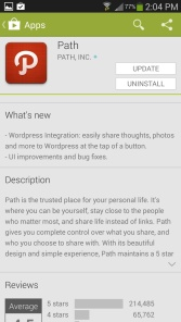 Path Android app description of what's new in the play store