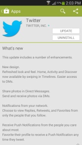 Twitter Android app description of what's new in the play store